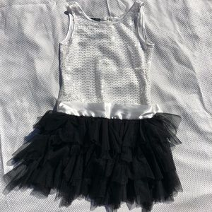 Girls Black and White Sequin Dress Size 8